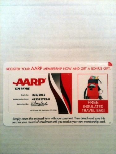 AARP membership card offer