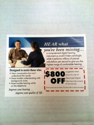 Photo of a card offering $800 off a hearing aid from Beltone