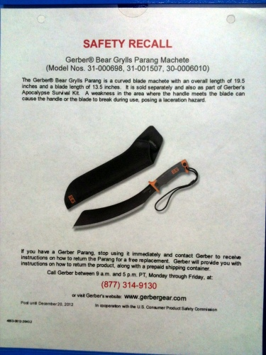 Photo of a sign at Walmart informing customers of a safety recall for a machete