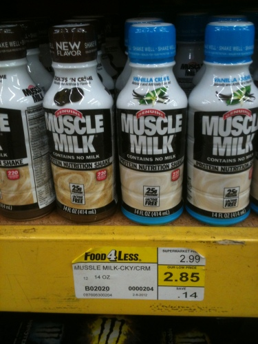 "Photo of Muscle Milk at the grocery store, but the tag is misspelled and says ""Mussle Milk"""