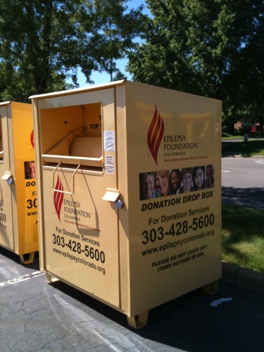 Photo of a donation box for the Epilepsy Foundation in Colorado