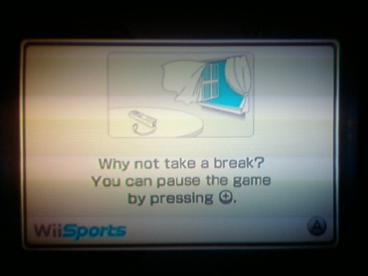 "Wii screen that says ""Why not take a break? You can pause the game by pressing the pause button"""